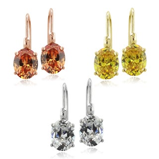 ICZ Stonez Sterling Silver Oval Cubic Zirconia Leverback Earrings Set of 3