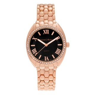 Journee Collection Women's Rhinestone Accent Roman Numeral Dial Link Bracelet Watch