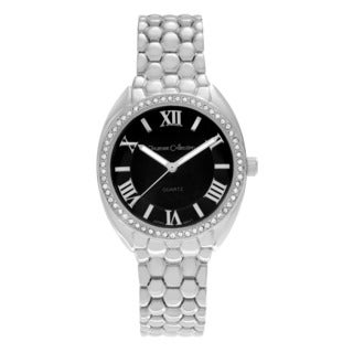 Journee Collection Rhinestone Bezel Roman Numeral Link Watch