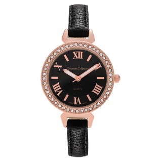Journee Collection Rhinestone Roman Numeral Leather Strap Watch