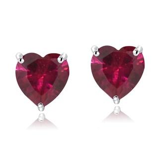 Glitzy Rocks Sterling Silver Birthstone Heart Studs