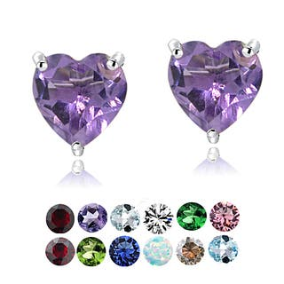 Glitzy Rocks Sterling Silver Birthstone Heart Studs (Option: September)|https://ak1.ostkcdn.com/images/products/10218721/P17340510.jpg?impolicy=medium