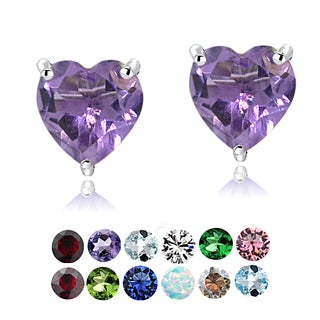 Glitzy Rocks Sterling Silver Birthstone Heart Studs (Option: February)