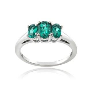 Glitzy Rocks Sterling Silver Birthstone 3-stone Ring
