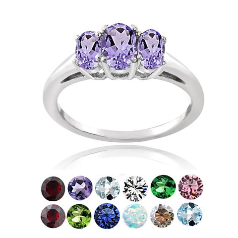 Glitzy Rocks Sterling Silver Birthstone 3-stone Ring