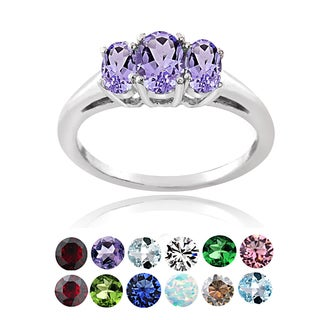 Glitzy Rocks Sterling Silver Birthstone 3-stone Ring (4 options available)