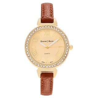 Journee Collection Women's Rhinestone Roman Numeral Dial Faux Leather Strap Watch