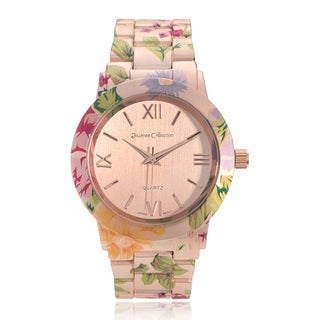 Journee Collection Women's Floral Print Roman Numeral Dial Link Bracelet Watch