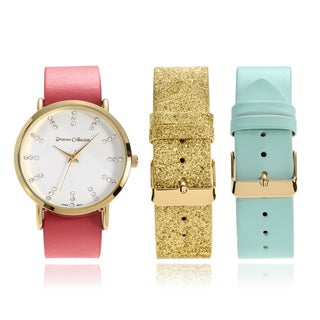 Journee Collection Rhinestone Interchangeable Faux Leather Strap Watch Set