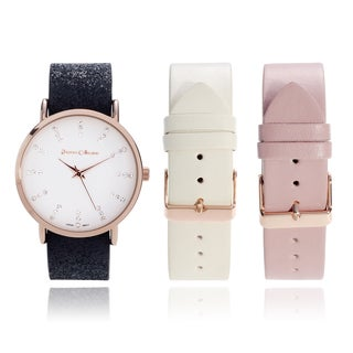 Journee Collection Women's Rhinestone Accent White Dial Interchangeable Strap Watch Set