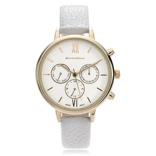 Journee Collection Roman Numeral Leather Strap Watch
