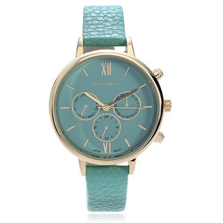 Journee Collection Women's Goldtone Roman Numeral Dial Faux Leather Strap Watch