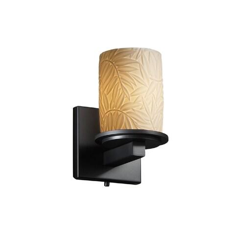 Justice Design Group Limoges Dakota 1-light Matte Black Wall Sconce, Bamboo Cylinder - Flat Rim Shade