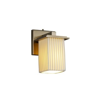 Justice Design Group Limoges Montana 1-light Brushed Nickel Wall Sconce, Pleats Square - Flat Rim Shade