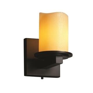 Justice Design Group CandleAria Dakota 1-light Matte Black Wall Sconce, Amber Cylinder - Melted Rim Shade