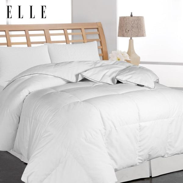 Elle Microfiber Pinstripe White Down Comforter