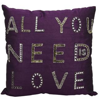 Mina Victory Luminescence All You Need Is Love Purple Throw Pillow (18-inch x 18-inch) by Nourison