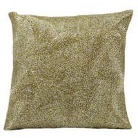 Mina Victory Luminescence Beaded Fan Silver/Gold Throw Pillow (16-inch x 16-inch) by Nourison