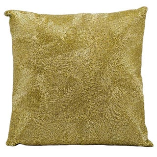 Mina Victory Luminescence Beaded Fan Gold Throw Pillow (16-inch x 16-inch) by Nourison
