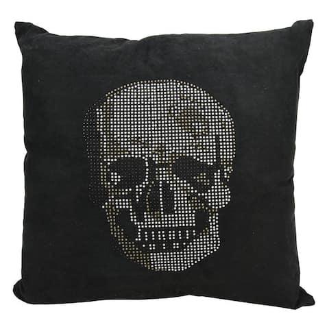 Mina Victory Luminescence Rhinestone Skull Black Throw Pillowby Nourison (18-Inch X 18-Inch)