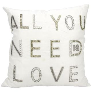 Mina Victory Luminescence All You Need Is Love White Throw Pillow (18-inch x 18-inch) by Nourison