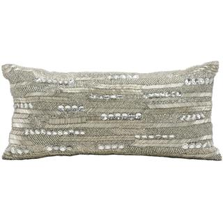 Mina Victory Luminescence Brilliant Beading Silver Throw Pillow (7-inch x 16-inch) by Nourison