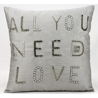 Mina Victory Luminescence All You Need Is Love Silver/Grey Throw Pillow (18-inch x 18-inch) by Nourison
