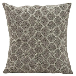 Mina Victory Luminescence Beaded Stars Silver/Grey Throw Pillow (16-inch x 16-inch) by Nourison