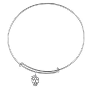 Skull Sterling Silver Charm Adjustable Bracelet
