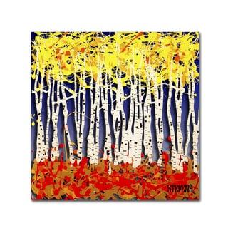 Roderick Stevens 'White Aspens' Canvas Art