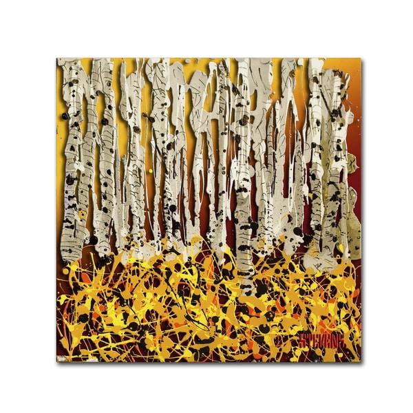 Roderick Stevens 'Silver Aspens' Canvas Art