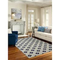 Mohawk Woodbridge Button Fleur Navy Area Rug (7'6 x 10')