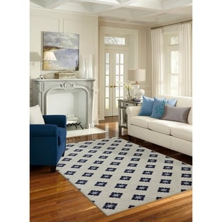 Mohawk Home Woodbridge Button Fleur Navy (5' x 8')