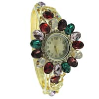 Women's Multi-colored Jewelled Statement Bangle Watch with Red, Green Clear Crystal Bezel