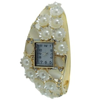 Women's Faux Pearl Hinged Bangle Watch Cream Stones Crystal