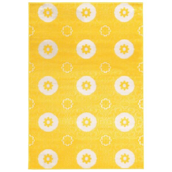 Linon Prisma Karma Yellow Rug (5'3-inch x 7'6-inch) - 5'3 x 7'6