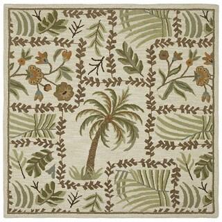 """Tara Squares Lanai Handmade Floral Wool Rug (9'9"""" Round)"""