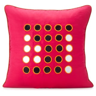 Spun by Welspun HandCrafted Kanch Red Decorative Pillow