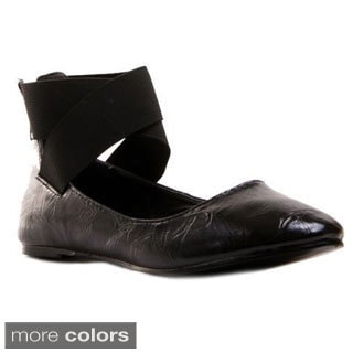 Gomax Women's Oriana 88 CrissCross Ankle Strap Ballerina Flat