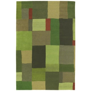 "Moods Avocado Foundation Patchwork Wool Rug (5' x 7'9"")"