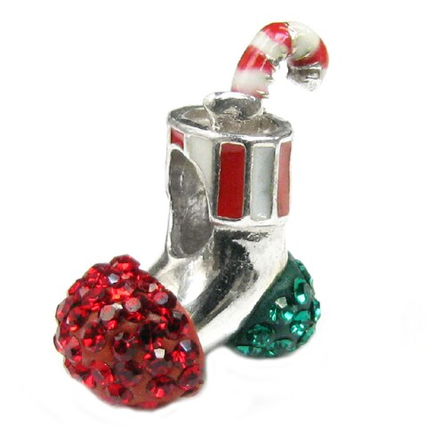Queenberry Sterling Silver Red/ Green Crystal Christmas Stocking European Bead Charm