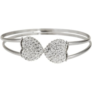 Decadence Sterling Silver Crystal Heart Double-strand Bangle