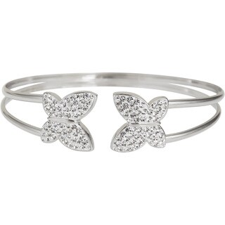 Decadence Sterling Silver Butterfly Crystal Cuff Bracelet