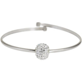 Decadence Sterling Silver Ball Crystal Bangle Bracelet