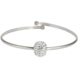 Decadence Sterling Silver Ball Crystal Bangle Bracelet