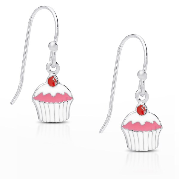 Molly and Emma Sterling Silver Pink Enamel Dangling Cupcake Earrings
