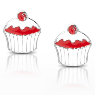 Molly and Emma Sterling Silver Red Enamel Cupcake Stud Earrings