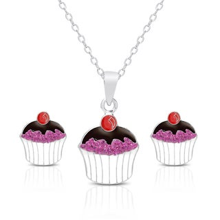 Molly and Emma Sterling Silver and Crystal Cupcake Necklace and Stud Earrings Set
