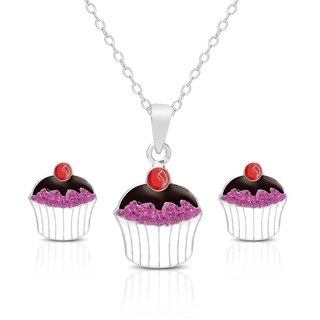 Molly and Emma Sterling Silver and Crystal Cupcake Necklace and Stud Earrings Set|https://ak1.ostkcdn.com/images/products/10219639/P17341298.jpg?_ostk_perf_=percv&impolicy=medium