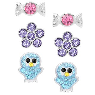 Molly and Emma Sterling Silver and Crystal Stud Earrings Set